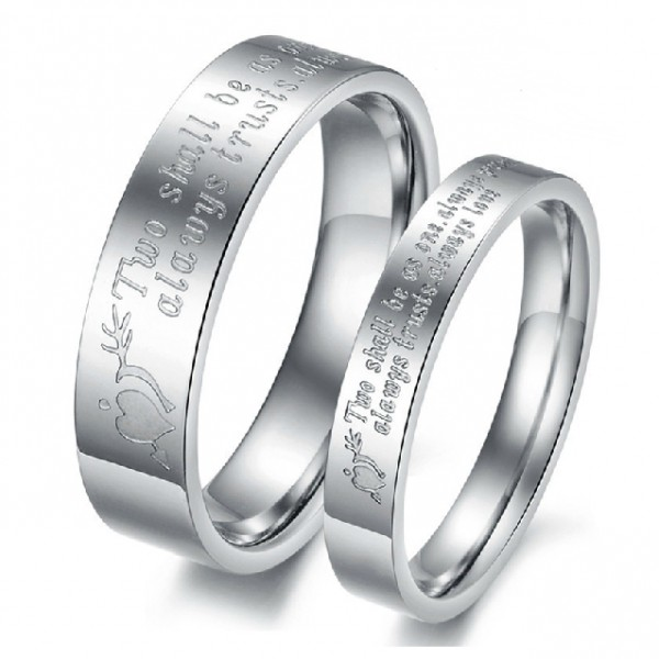 Two Shall Be As One Lover Rings Engravable Titanium Steel Price For