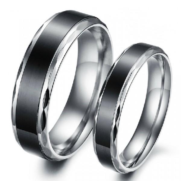 black titanium steel promise ring for lovers couple. Black Bedroom Furniture Sets. Home Design Ideas