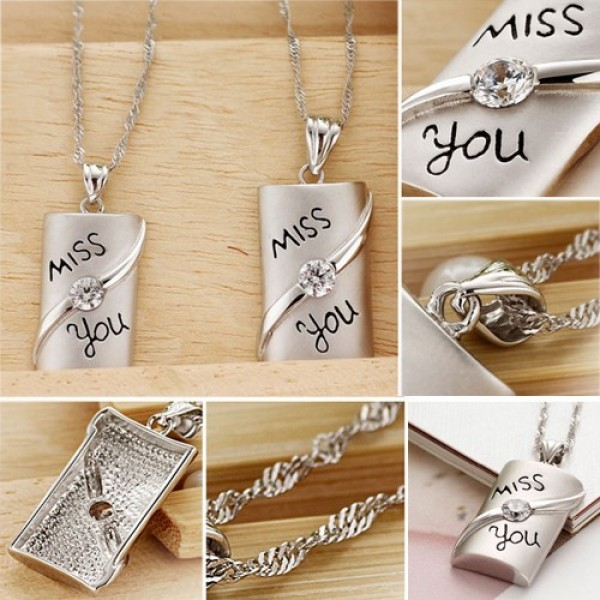 Miss You Rectangle 925 Sterling Silver 18k Gold Plated Lover Necklace Price For A Pair