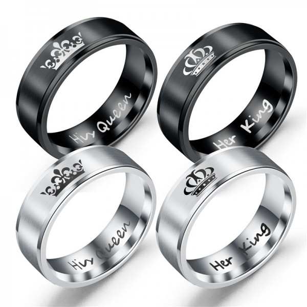662b4211bb King and Queen Rings for Couples - 2pcs His Hers Stainless Steel Matching  Ring Sets for Him and Her - Promise Engagement Wedding Band Black Comfort  Fit