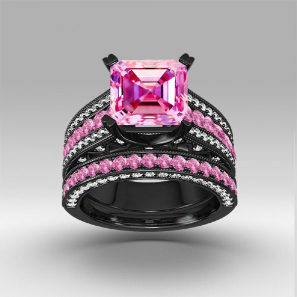 pink and white cubic zirconia asscher cut engagement ring
