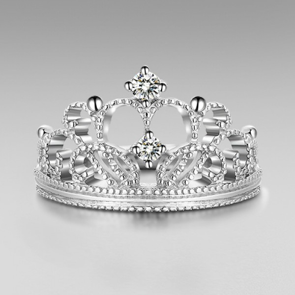 Exquisite Princess Crown Cubic Zirconia 925 Sterling Silver Wedding
