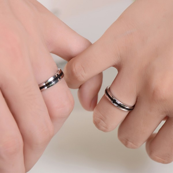 925 Sterling Silver With White Gold Plated Black Stripe His and