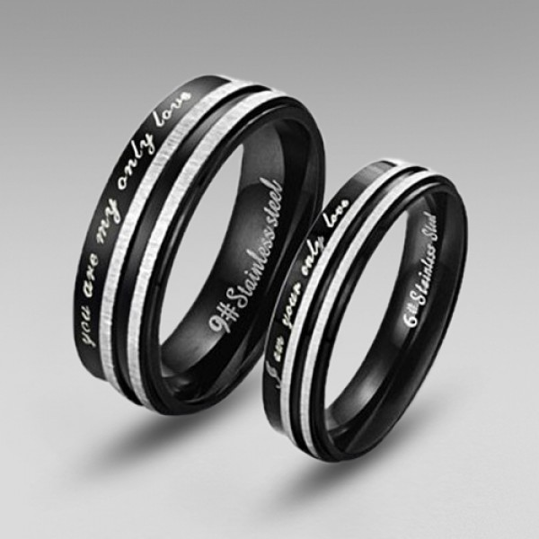 aa0442c38e353 Black Stainless Steel Couple Rings in Simple Style