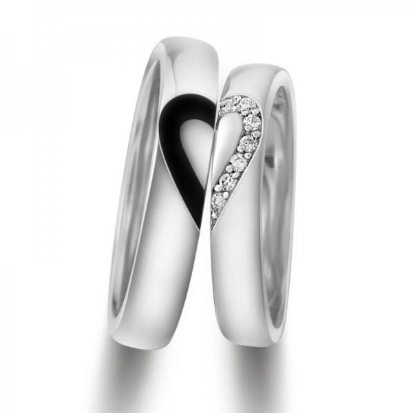 0aa8cef9f5 Unique 925 Sterling Silver White Gold Plated Lover's Heart Couple Rings(Price  ...