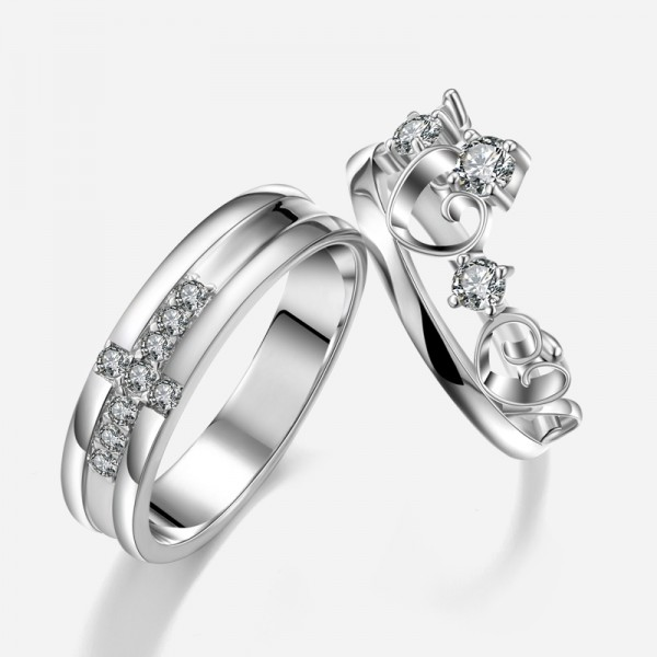 002dc72200 New Fashion Personalized Cross With Heart Unique 925 Sterling Silver  Lover's Heart Couple Rings (Price ...