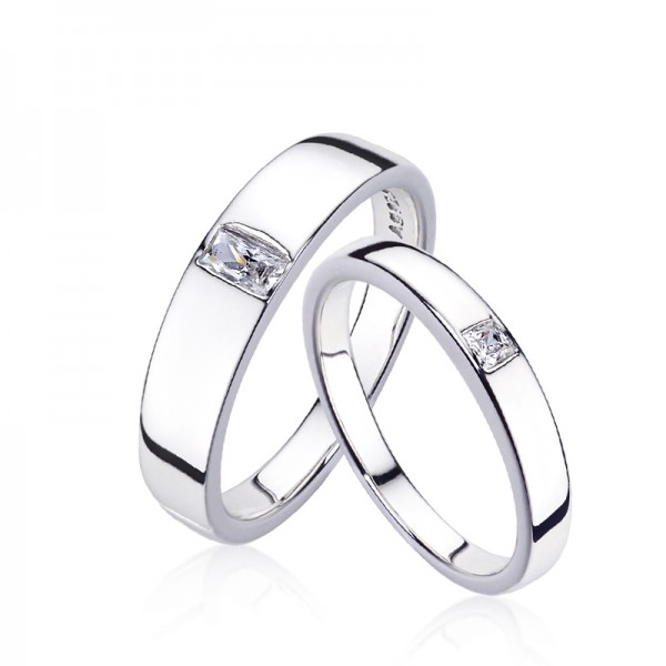 6569a54346 Europe Simple 925 Silver Plated Platinum Couple Rings - Couple Rings