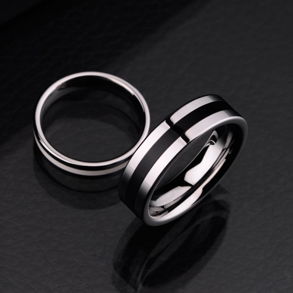 black and white tungsten couple rings couple rings. Black Bedroom Furniture Sets. Home Design Ideas