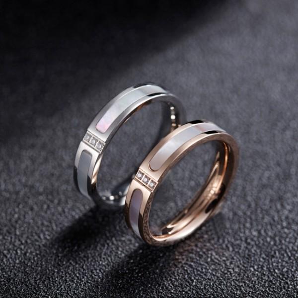 Korean Simple 18K Rose Gold Plated Titanium Steel Couple ...