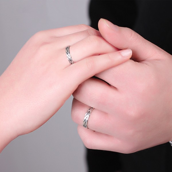 Simple Fine Workmanship s999 Fine Silver Hand-Woven Couple ...