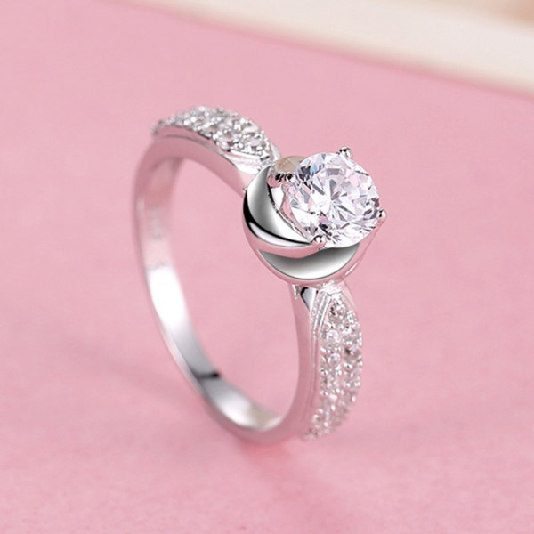 Popular 925 Silver Rose Shaped Korean Fashion Engagement Ring