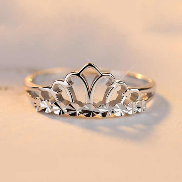 925 Sterling Silver Simple Crown Design Sweet Womans Ring