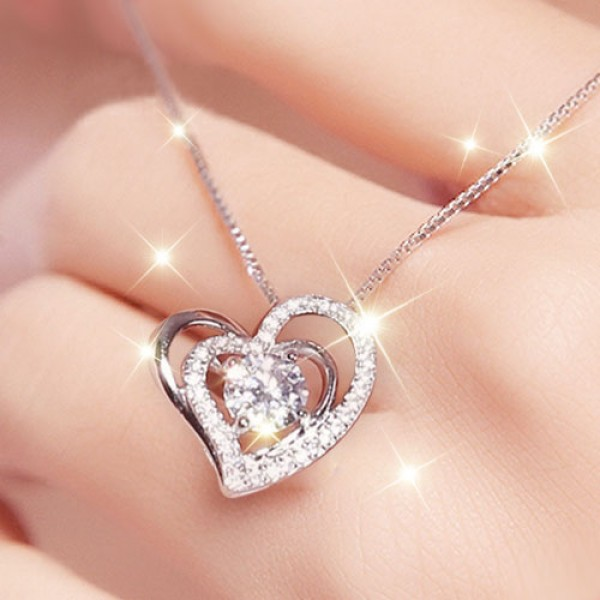 Double heart design pendant 925 sterling silver cubic zirconia double heart design pendant 925 sterling silver cubic zirconia womens necklace aloadofball Images