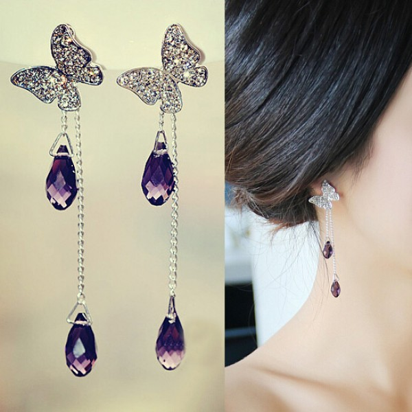 Latest Beautiful Erfly Shape Earrings With Rhinestone