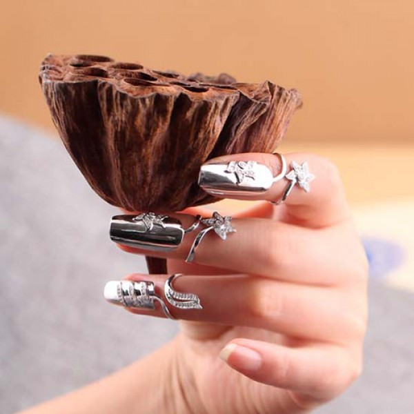 d3a1aa3311b83 Retro Flower Fingernail Ring 925 Sterling Silver Cocktail Ring For Women