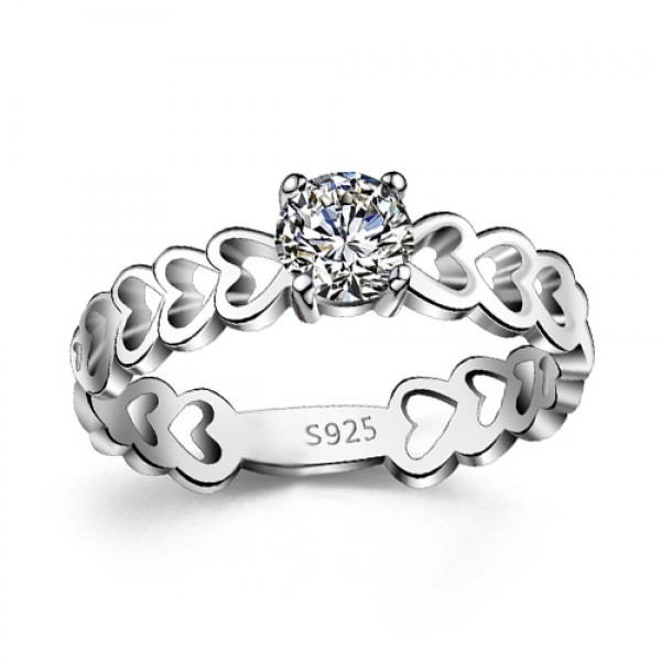 Hollow Heart Design 925 Sterling Silver Round Cut Cubic Zirconia Womens Ring Wedding