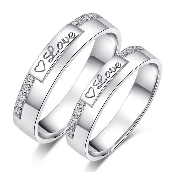 Heart Of Love White Gold Plated 925 Sterling Silver Couple