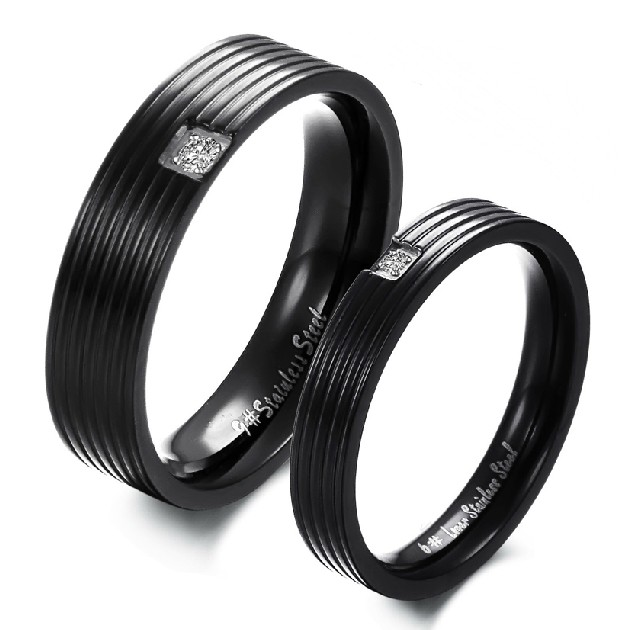 Pure Black Titanium Steel Promise Rings For Couples Wedding Bands