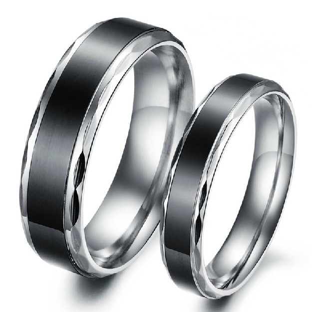 4741adf274 Black Titanium Steel Promise Ring For Lovers Couple Wedding Bands  Engravable Matching Sets(Price For A Pair) - Personalized Rings