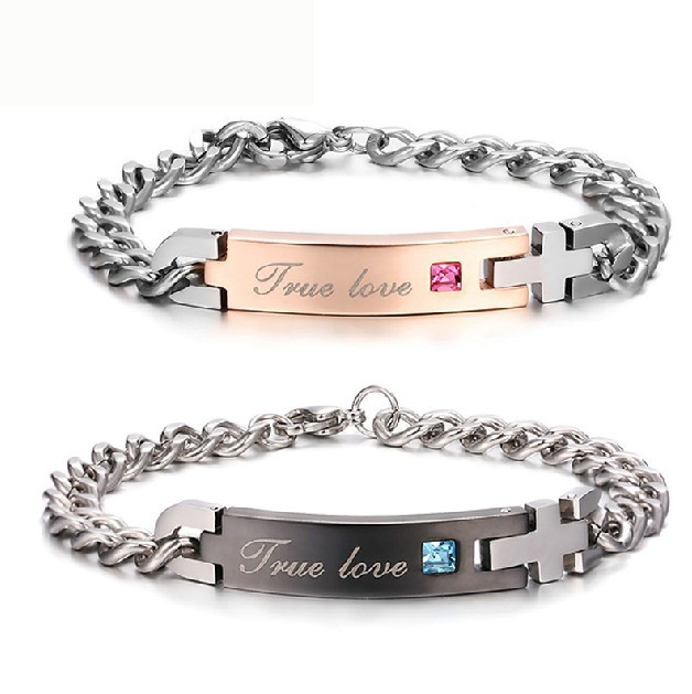 aef9cc174a New Simple Style Stainless Steel Cross 'True Love' Engraved Couple Bracelet(Price  For A Pair), I Love You Bracelet