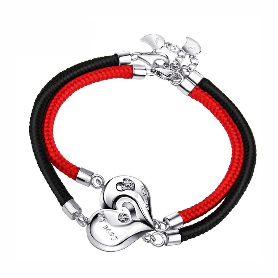 Luxury Charming Handmade Couple His & Hers Heart Lock Key Braided Bracelets Lovers Gift Pink & Black Intl - Daftar Update Harga Terbaru Indonesia