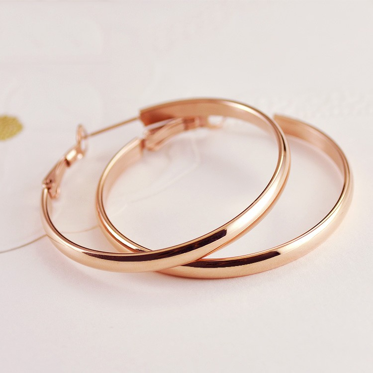 Fashionable Elegant 18k Rose Gold Plated Woman S Anium Hoop Earring