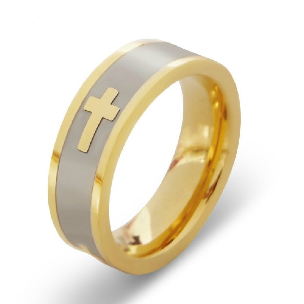 Cross Pattern Titanium Steel Gold Plated Ring For Men And Women