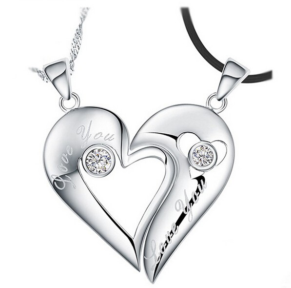 Creative quotlove youquot hearts kiss with crystal 925 sterling creative love you hearts kiss with crystal 925 sterling silver lovers necklaces price aloadofball Choice Image