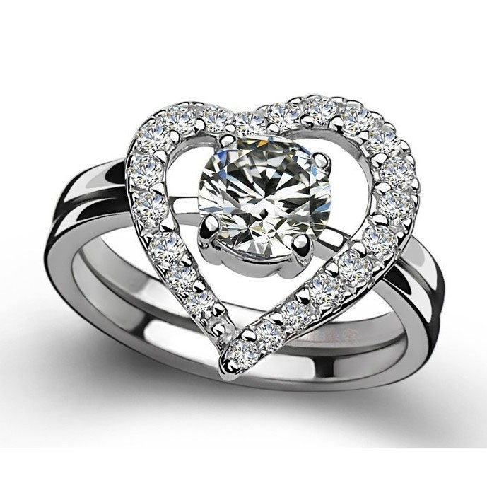 Romantic Heart Shape Diamond With Crystal Wedding Ring Silver Rings