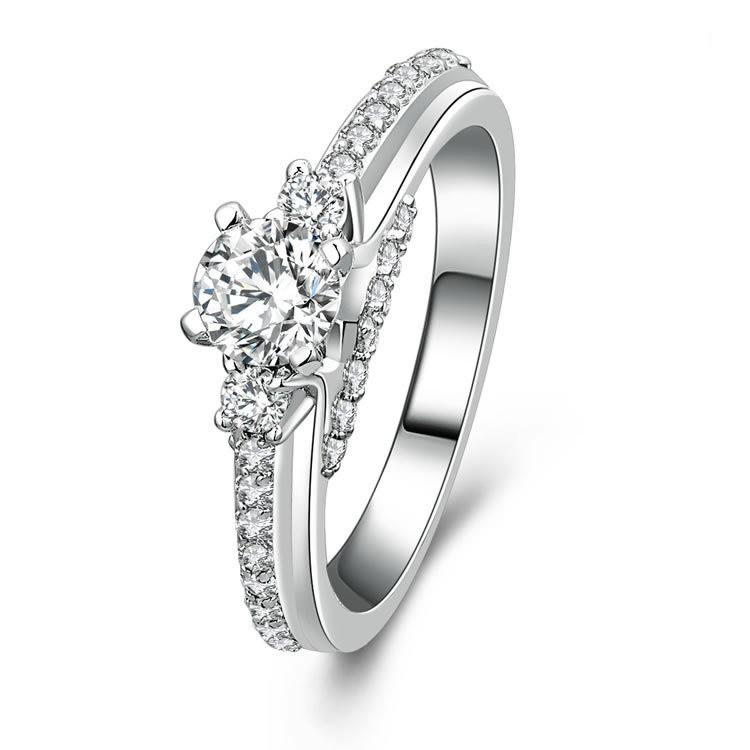 Classical 925 Sterling Silver Engagement Wedding Ring Silver Rings