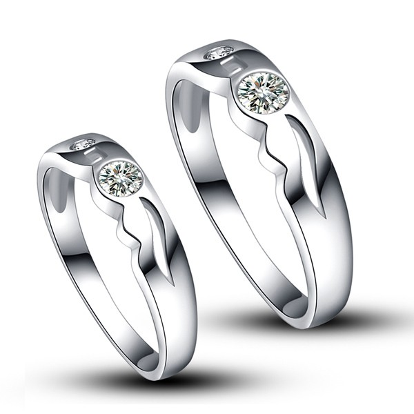 Platinum Plated 925 Sterling Sivler With Synthetic Diamond Couple