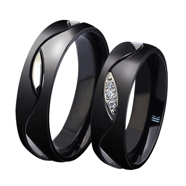 lover 39 s black titanium steel rings for couple price for a. Black Bedroom Furniture Sets. Home Design Ideas