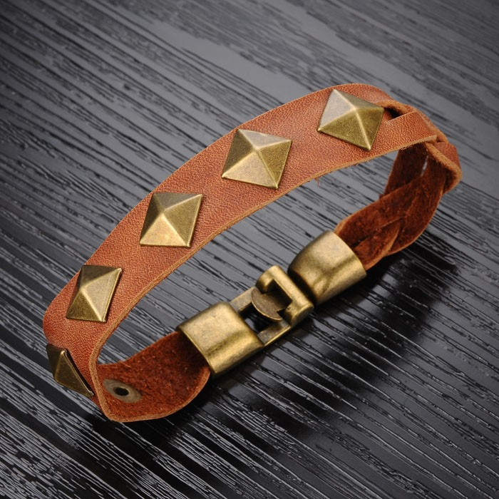 Vintage men 39 s leather bracelet with rivet cuff leather for Rivets for leather jewelry