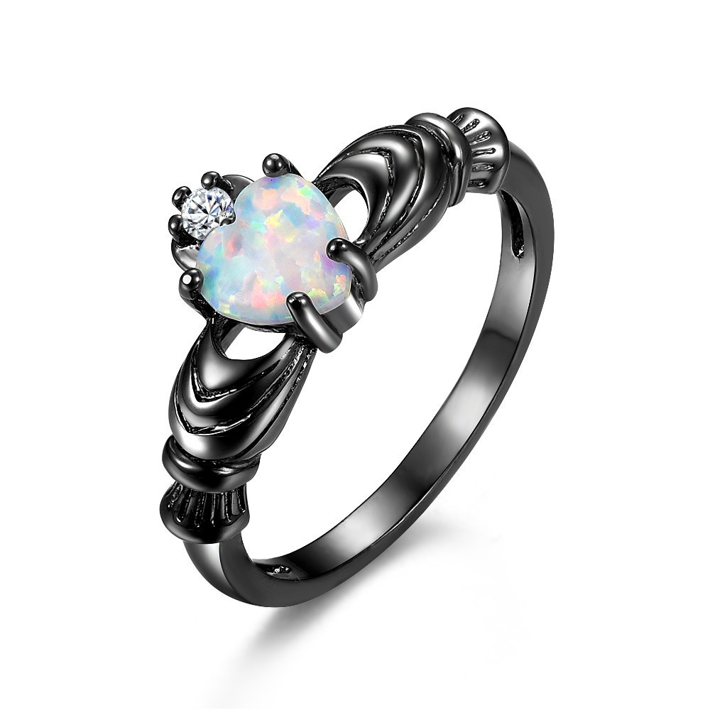 Attractive Black Heart Cut Opal Stone Promise Ring/Engagement Ring UZ99
