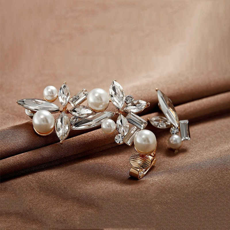 Asymmetrical Pearl And Crystal Flower Ear Cuff And Earring