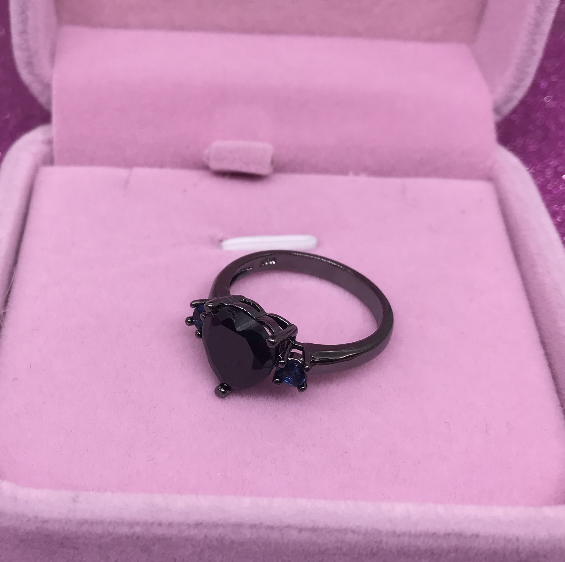 Heart Cut Black Cubic Zirconia Stone Promise Ring/Engagement Ring
