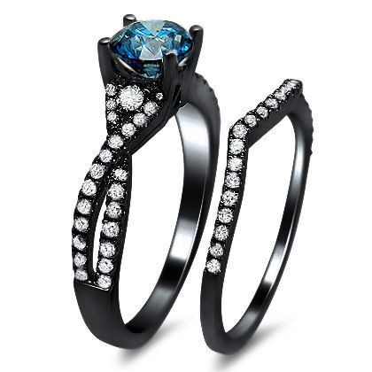 vintage aaa quality blue cubic zirconia 925 sterling silver black engagement wedding ring bridal set fashion rings - Black And Silver Wedding Rings
