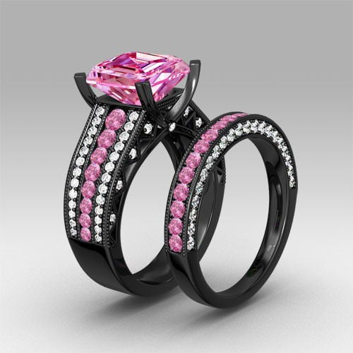 pink and white cubic zirconia asscher cut engagement ring 925 sterling silver black wedding ring set - Black Wedding Ring Set