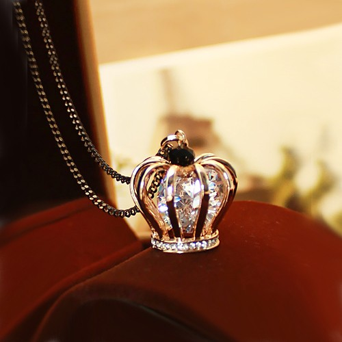Crystal Crown Pendant 14k Gold Plated