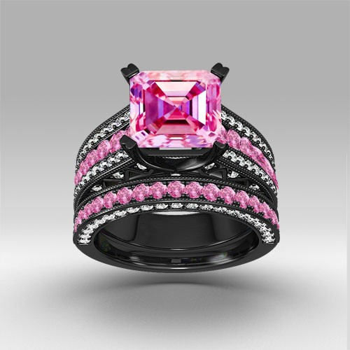 pink and white cubic zirconia asscher cut engagement ring 925 sterling silver black wedding ring set - Pink Wedding Ring Set