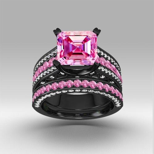 black wedding ring set prevnext - Pink And Black Wedding Rings