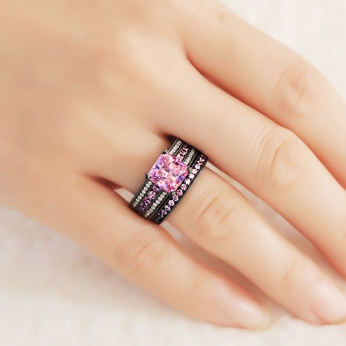 Pink and White Cubic Zirconia Asscher Cut Engagement Ring 925 Sterling Silver