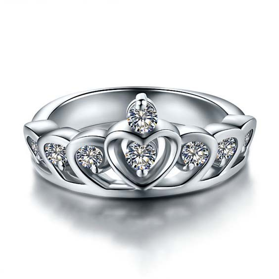 Charming Princess Crown Shaped 925 Sterling Silver Engagement Ring For Women