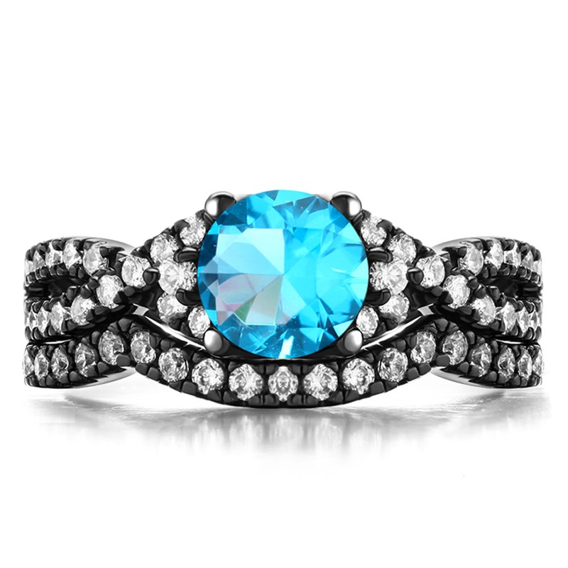 Vintage Aaa Quality Blue Cubic Zirconia 925 Sterling Silver Black Engagement Wedding Ring Bridal Set