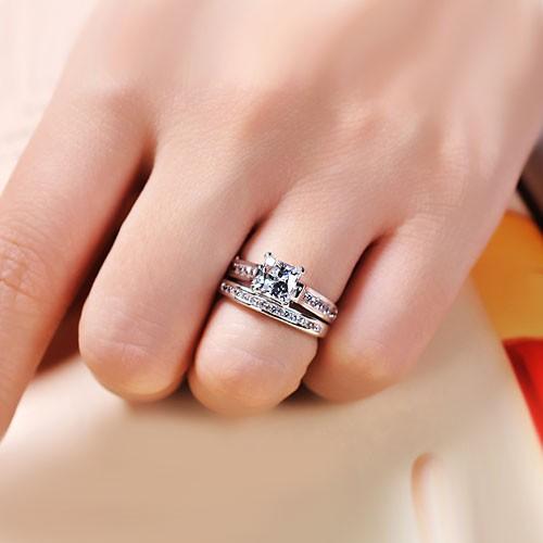 10 CT Brilliant Princess Cut 925 Sterling Silver EngagementWedding