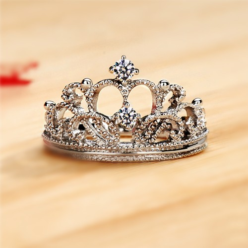 Exquisite Princess Crown Cubic Zirconia 925 Sterling Silver Wedding Ring Engagement