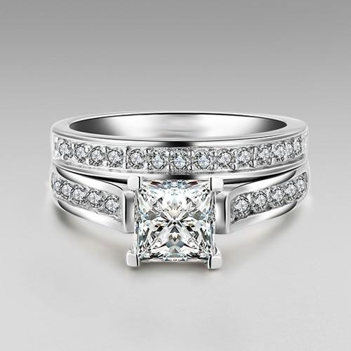 1 0 Ct Brilliant Princess Cut 925 Sterling Silver Engagement Wedding