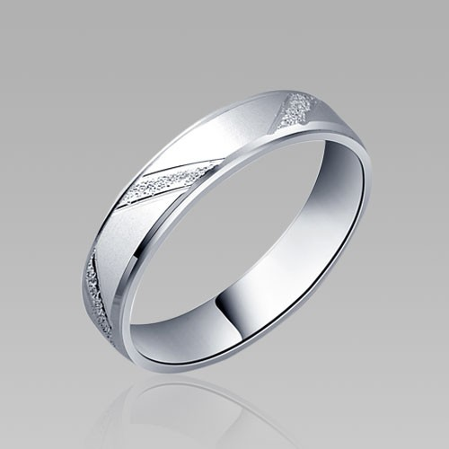 Matting Stripe Style 925 Sterling Silver White Gold Plated Mens Wedding Ring Band