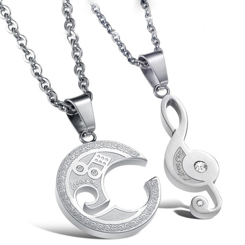 Romantic love musical note titanium stainless steel lovers necklace romantic love musical note titanium stainless steel lovers necklace price for a pair aloadofball Choice Image