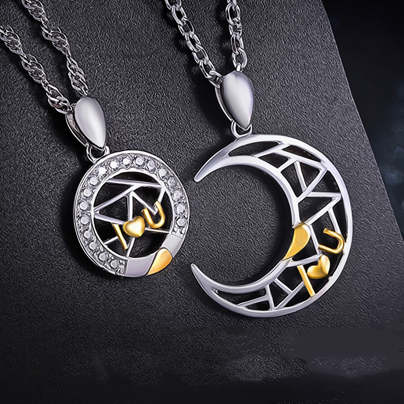 Romantic i love you silver plated moon and sun hollow lovers romantic i love you silver plated moon and sun hollow lovers necklaceprice for a pair aloadofball Choice Image